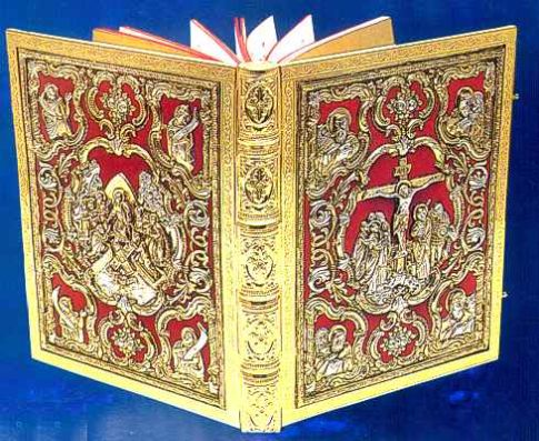 Holy Book Covers made of Gold, Silver, and Velvet, Gospel Book Covers,
