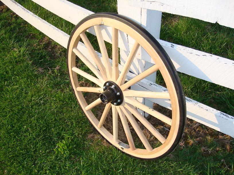 Country Western Wagon Wheel With Steel Hub And Rubber Tire Cap 24