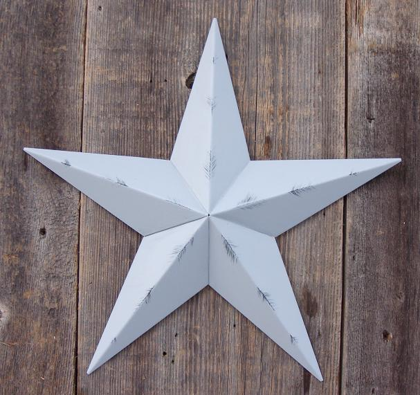 Rustic Gray Metal Tin Barn Star – Made in the USA!