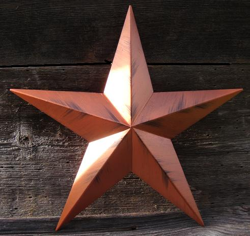 Rustic Metallic Copper Metal Tin Barn Star – Made in the USA!