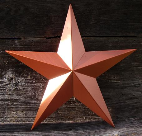 Solid Metallic Copper Metal Tin Barn Star – Made in the USA!