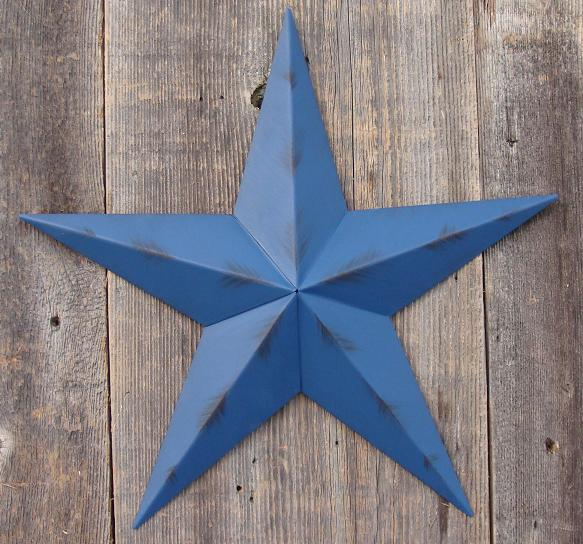 Rustic Blue Metal Tin Barn Star – Made in the USA!