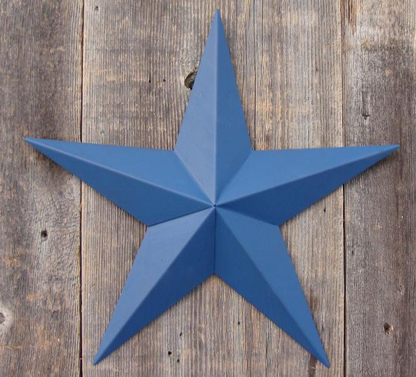 Solid Blue Metal Tin Barn Star – Made in the USA!