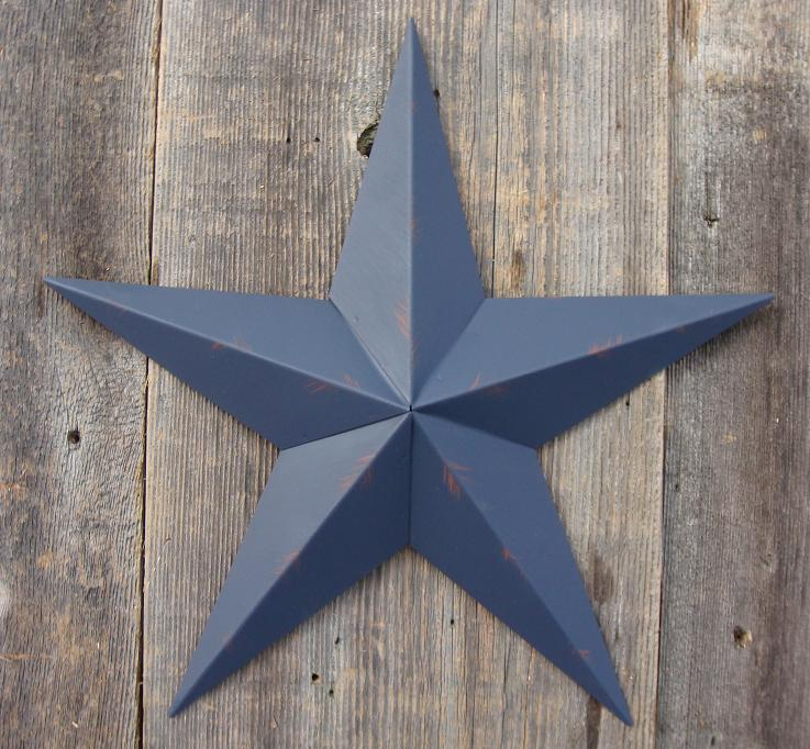 Rustic Whale Blue Metal Tin Barn Star – Made in the USA!