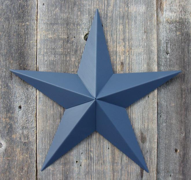 Solid Whale Blue Metal Tin Barn Star – Made in the USA!