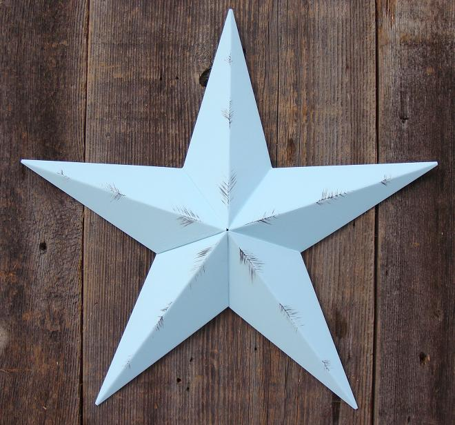 Rustic Robins Egg Blue Metal Tin Barn Star – Made in the USA!