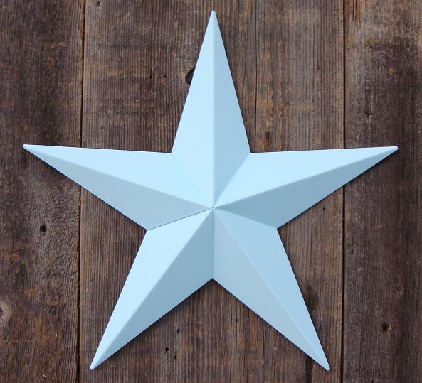Solid Robins Egg Blue Metal Tin Barn Star – Made in the USA!