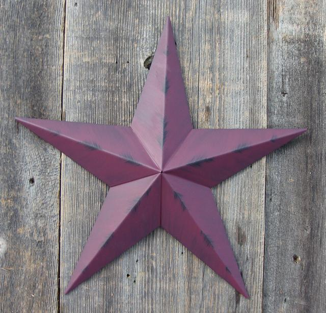 Rustic Burgundy Metal Tin Barn Star – Made in the USA!