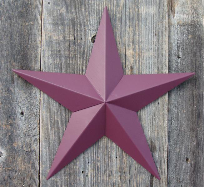 Solid Burgundy Metal Tin Barn Star – Made in the USA!