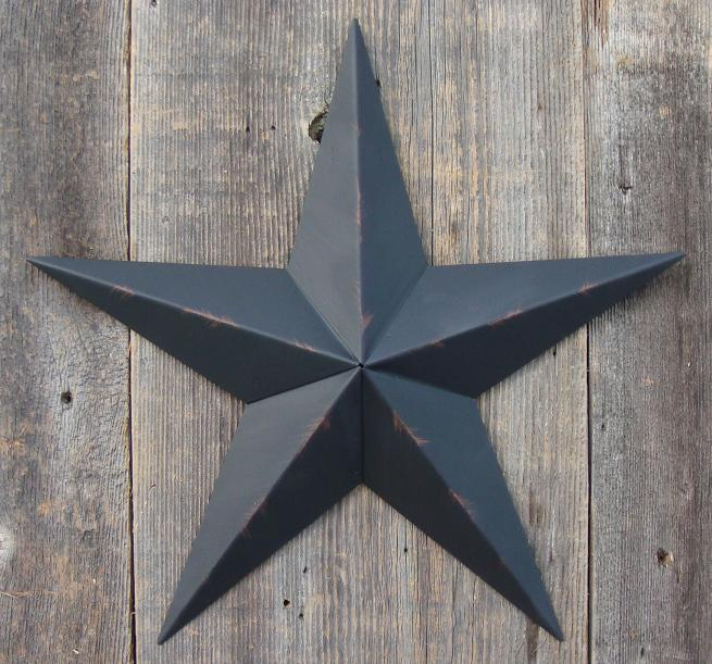 Rustic Black Metal Tin Barn Star Made In The Usa