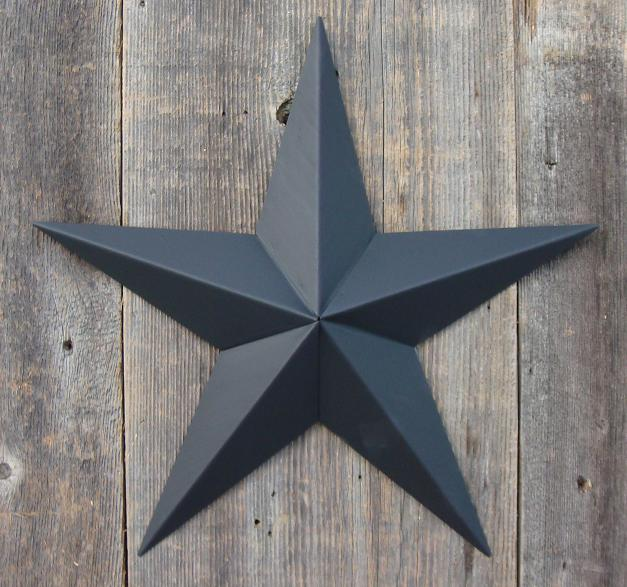 Solid Black Metal Tin Barn Star – Made in the USA!