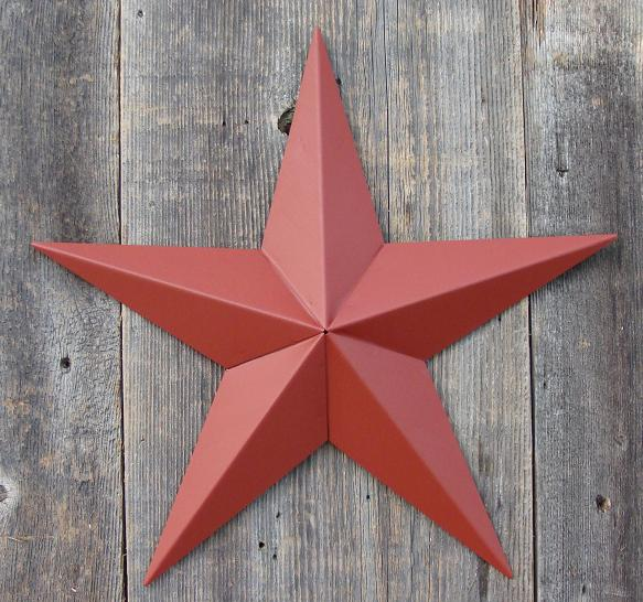Solid Barn Red Metal Tin Barn Star  Made in the USA!