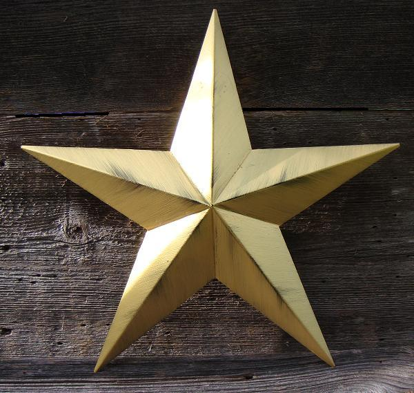 Rustic Metallic Gold Metal Tin Barn Star – Made in the USA!