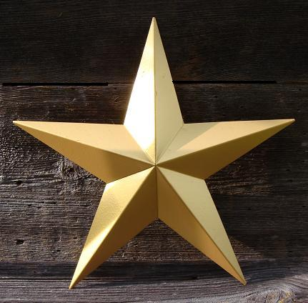 Solid Metallic Gold Metal Tin Barn Star – Made in the USA!