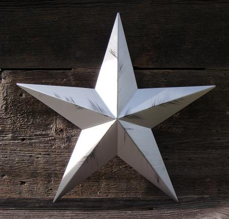 Rustic Metallic Silver Metal Tin Barn Star – Made in the USA!