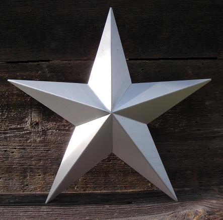 Solid Metallic Silver Metal Tin Barn Star – Made in the USA!