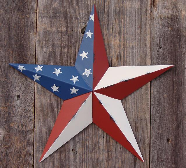 Rustic Americana (Traditional American Flag) Metal Tin Barn Star – Made in the USA!