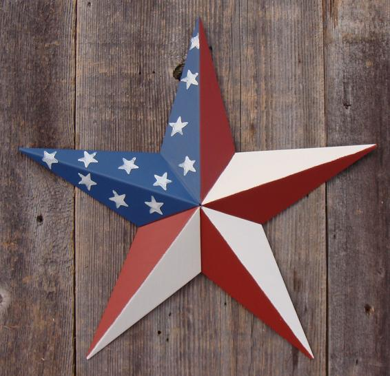 Solid Americana (Traditional American Flag) Metal Tin Barn Star – Made in the USA!