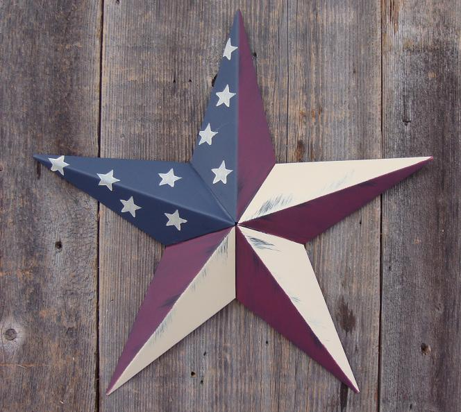 Rustic Olde Glory (Country Style American Flag) Metal Tin Barn Star – Made in the USA!