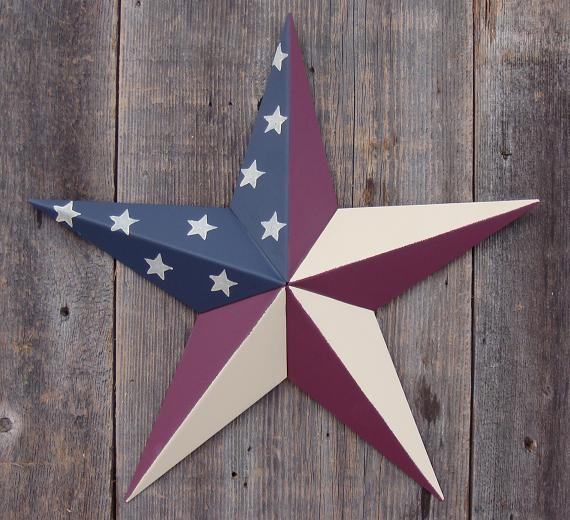 Solid Olde Glory (Country Style American Flag) Metal Tin Barn Star � Made in the USA!