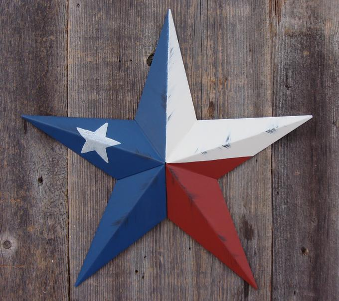 Rustic Texas Flag Metal Tin Barn Star – Made in the USA!
