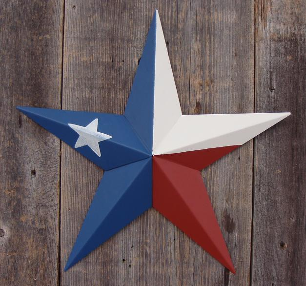 Solid Texas Flag Metal Tin Barn Star � Made in the USA!