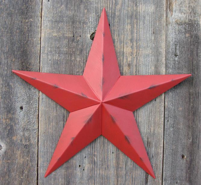 Rustic Radiant Red Metal Tin Barn Star – Made in the USA!