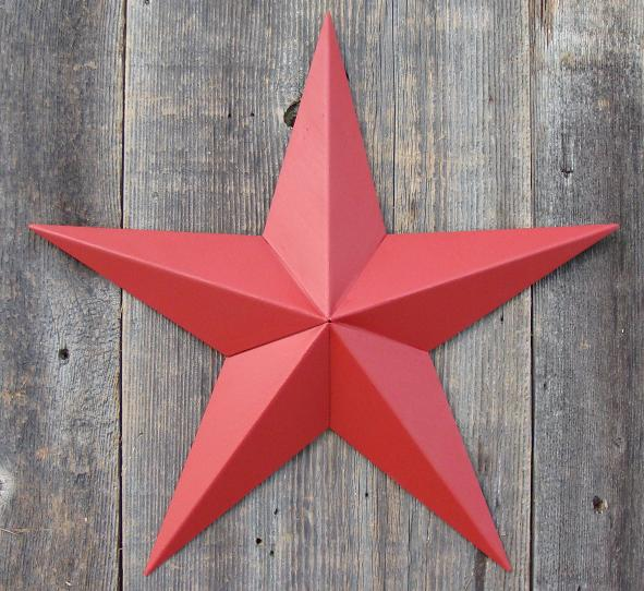 Solid Radiant Red Metal Tin Barn Star – Made in the USA!