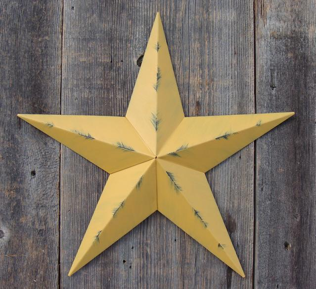 Rustic Mustard Metal Tin Barn Star – Made in the USA!