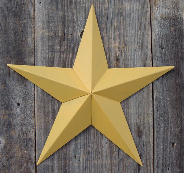 Solid Mustard Metal Tin Barn Star – Made in the USA!