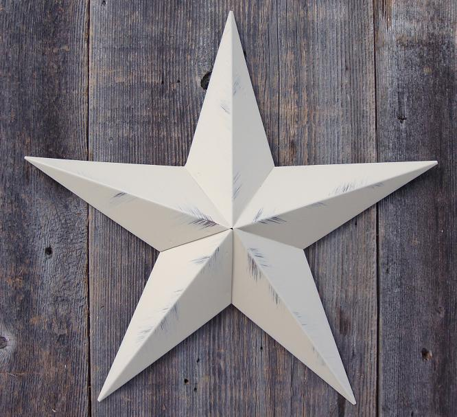 Rustic Beige Metal Tin Barn Star – Made in the USA!
