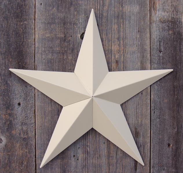 Solid Beige Metal Tin Barn Star – Made in the USA!
