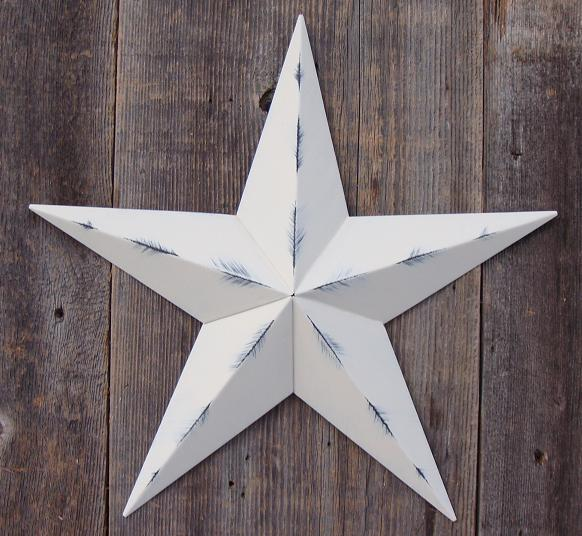 Rustic Ivory Metal Tin Barn Star – Made in the USA!