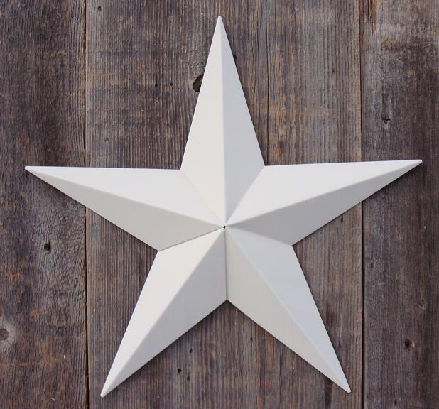 Solid Ivory Metal Tin Barn Star – Made in the USA!