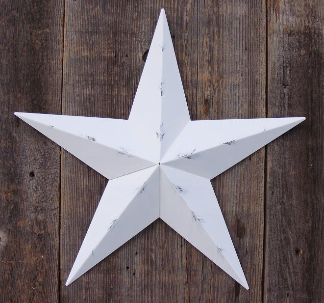 Rustic White Metal Tin Barn Star – Made in the USA!