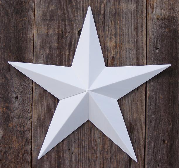 Solid White Ivory Metal Tin Barn Star – Made in the USA!