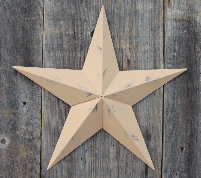 Rustic Tan Metal Tin Barn Star – Made in the USA!