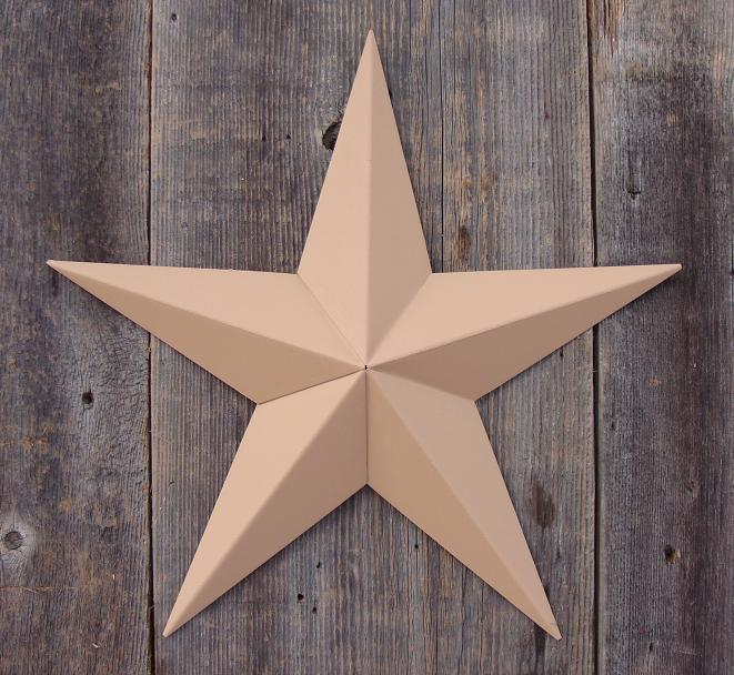 Solid Tan Metal Tin Barn Star – Made in the USA!