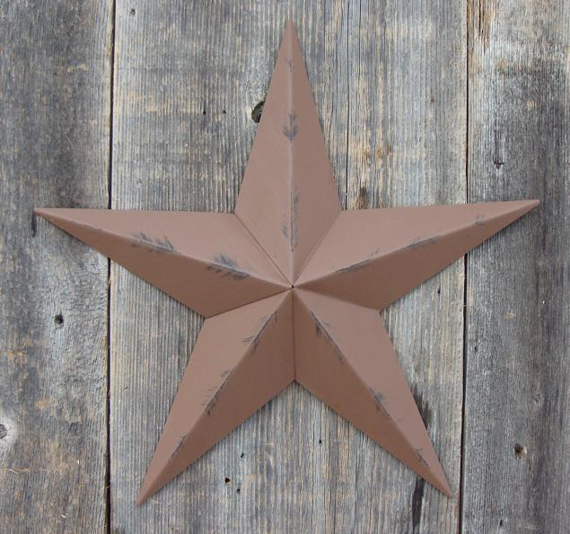Rustic Brown Metal Tin Barn Star – Made in the USA!