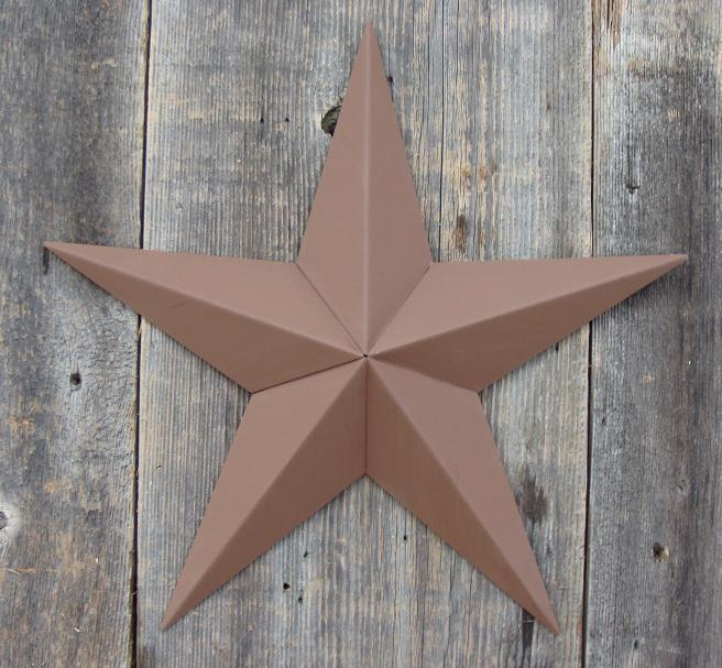 Solid Brown Metal Tin Barn Star – Made in the USA!