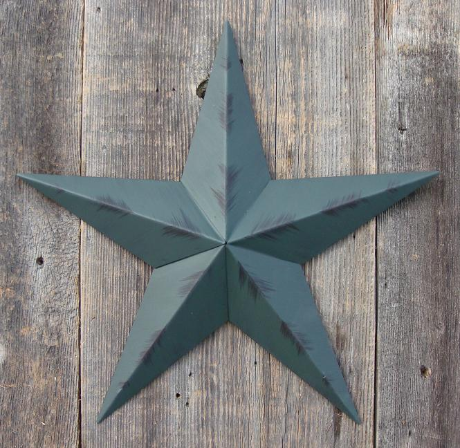 Rustic Green Metal Tin Barn Star – Made in the USA!